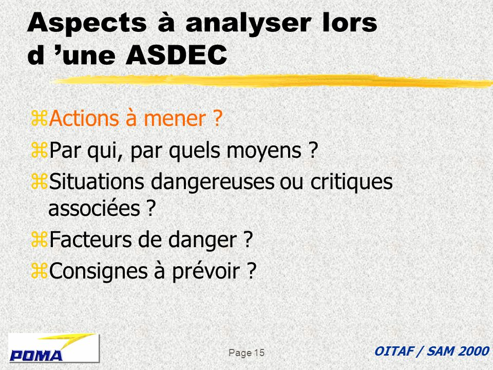 Aspects à analyser lors d 'une ASDEC