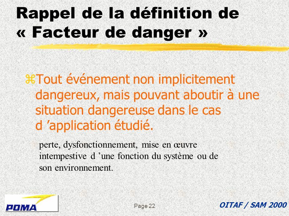 Rappel de la définition de « Facteur de danger »