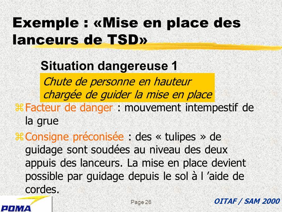 Exemple : «Mise en place des lanceurs de TSD»