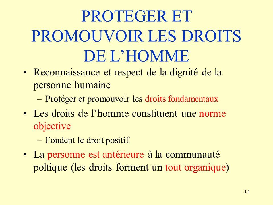 PROTEGER ET PROMOUVOIR LES DROITS DE L'HOMME