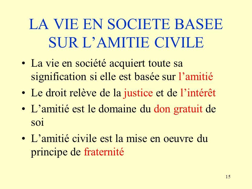 LA VIE EN SOCIETE BASEE SUR L'AMITIE CIVILE