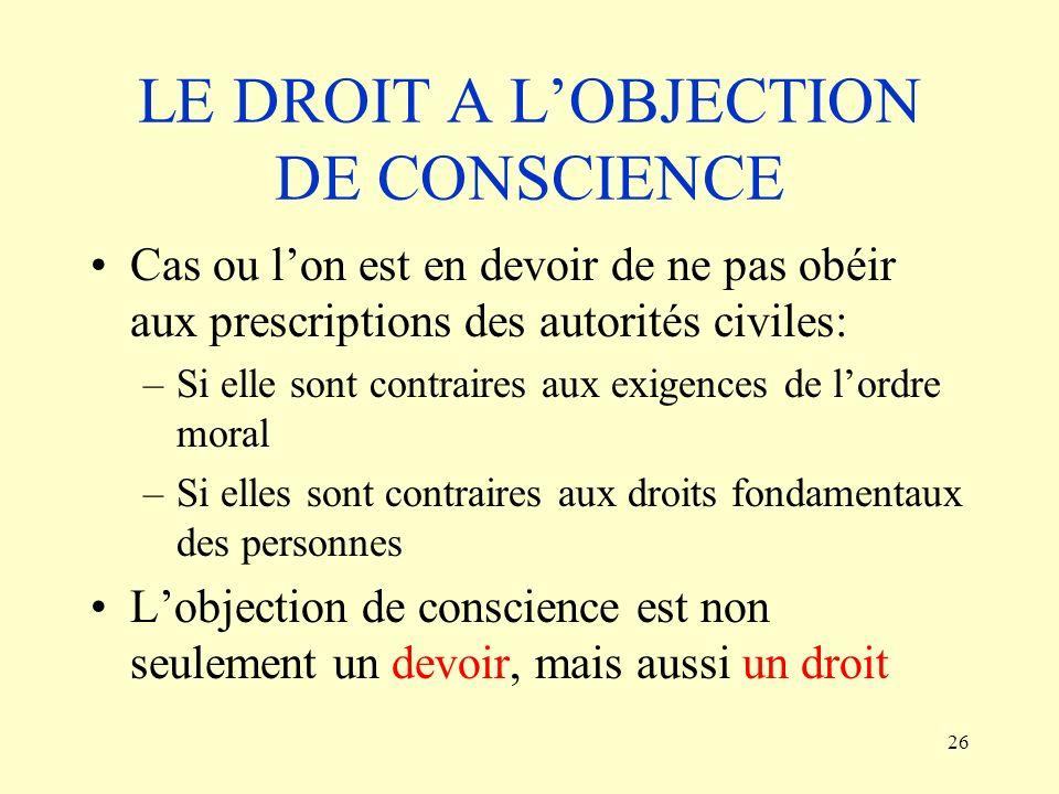 LE DROIT A L'OBJECTION DE CONSCIENCE