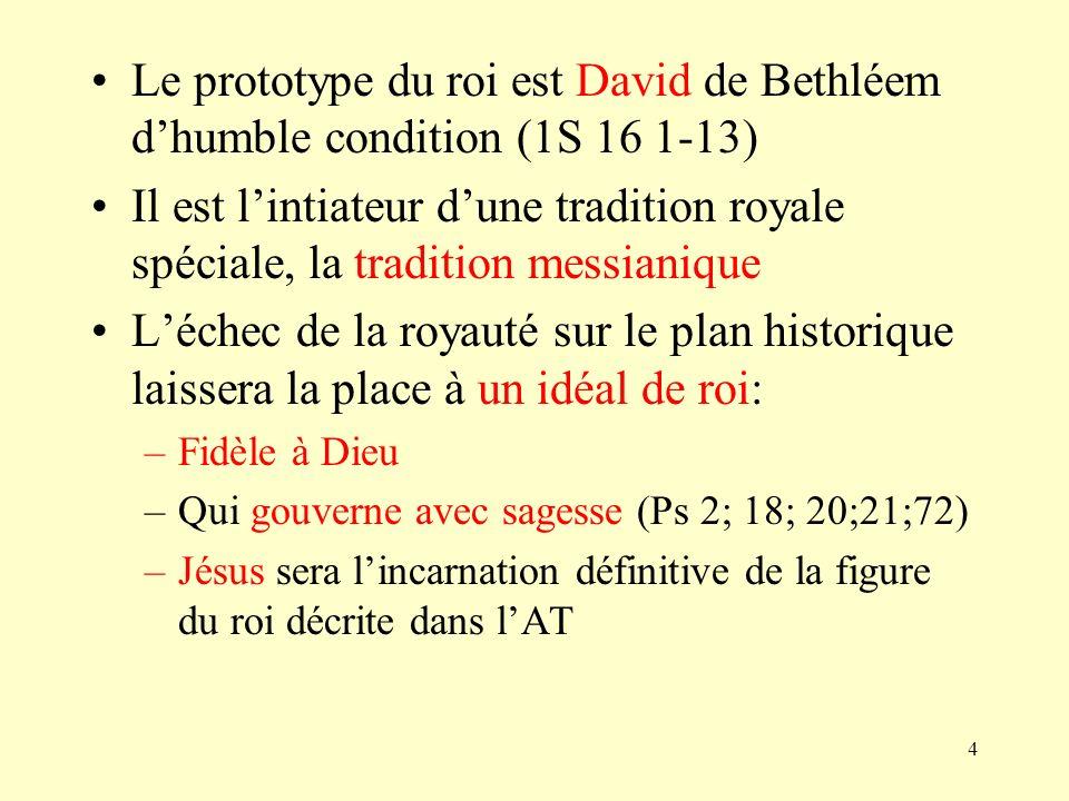 Le prototype du roi est David de Bethléem d'humble condition (1S 16 1-13)