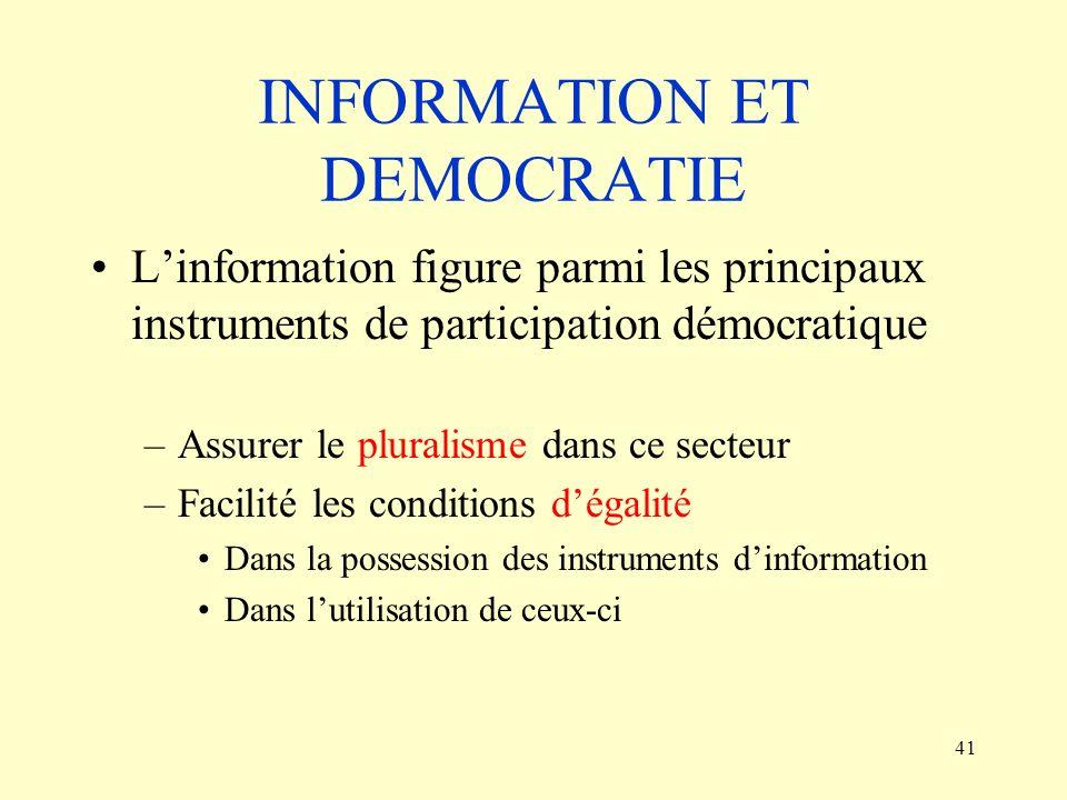 INFORMATION ET DEMOCRATIE