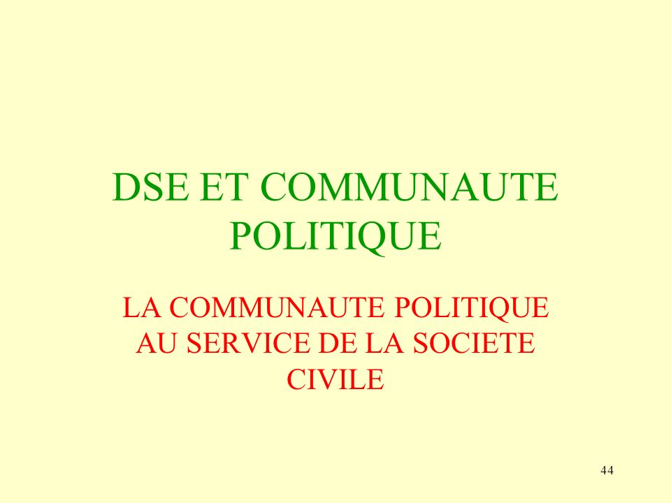 DSE ET COMMUNAUTE POLITIQUE