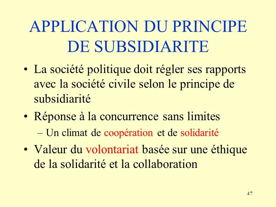 APPLICATION DU PRINCIPE DE SUBSIDIARITE