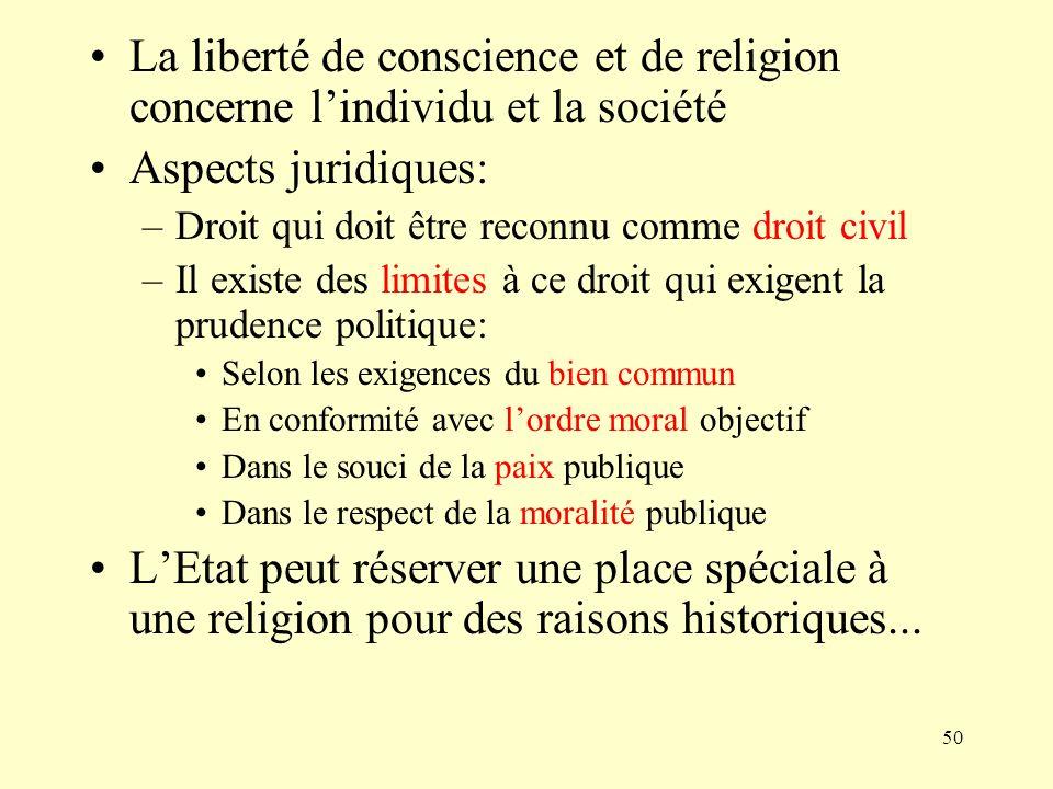 La liberté de conscience et de religion concerne l'individu et la société