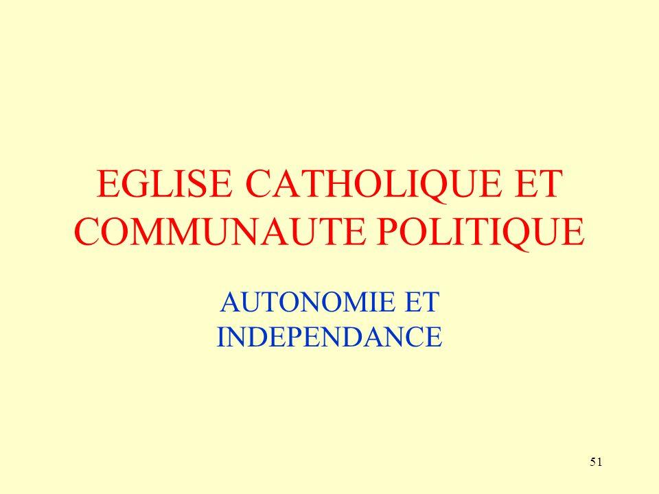 EGLISE CATHOLIQUE ET COMMUNAUTE POLITIQUE