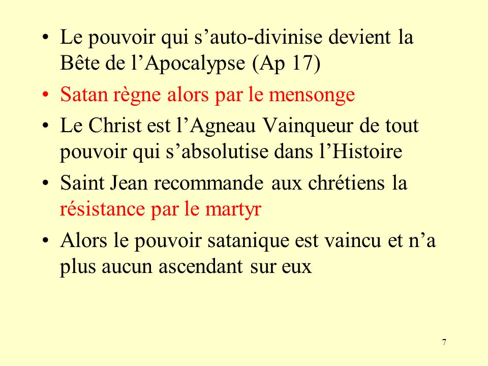Le pouvoir qui s'auto-divinise devient la Bête de l'Apocalypse (Ap 17)