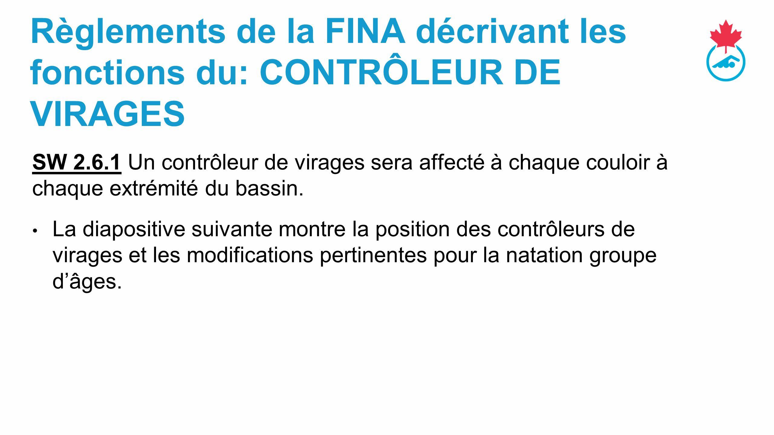 Règlements de la FINA décrivant les fonctions du: CONTRÔLEUR DE VIRAGES