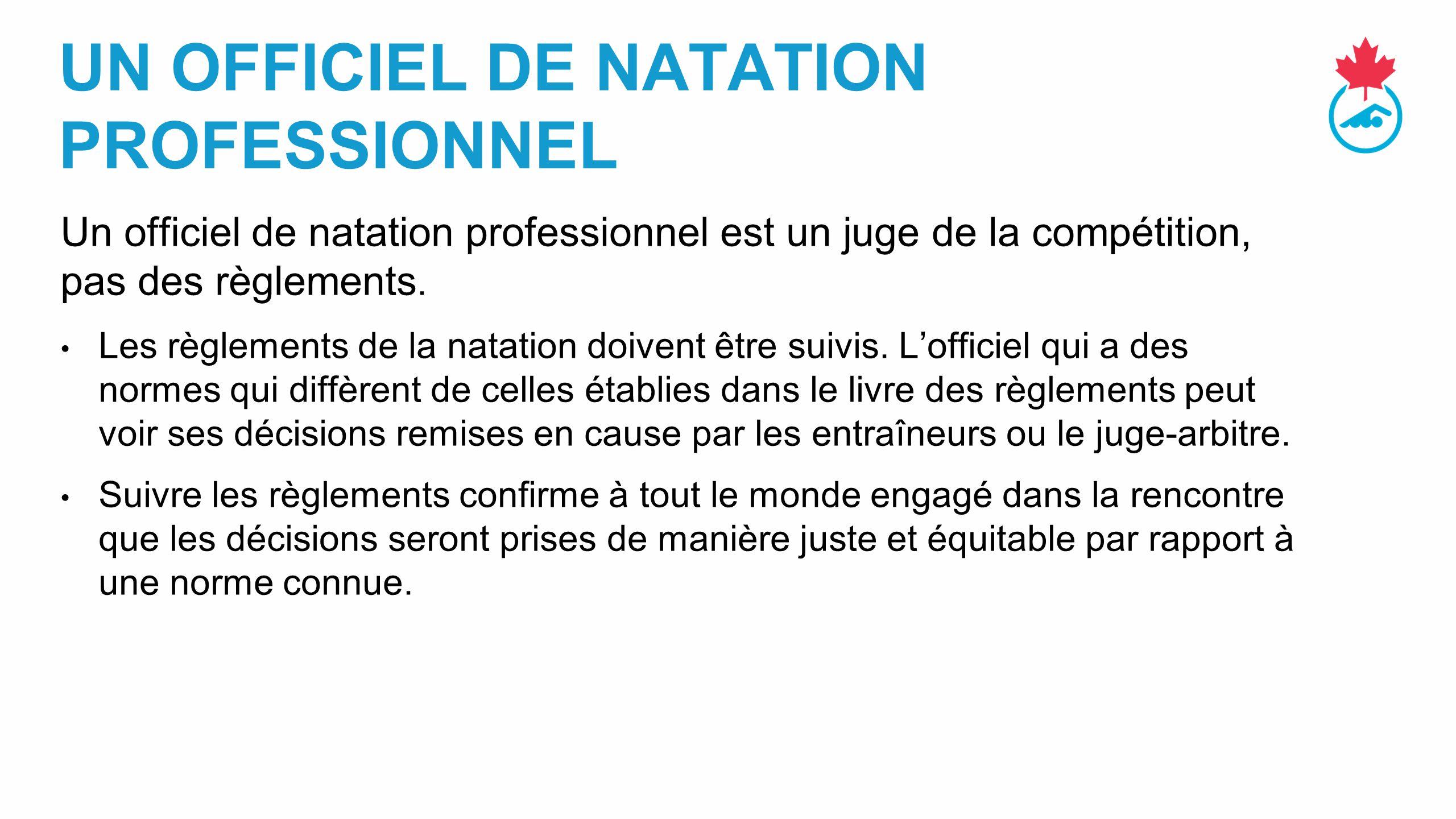 UN OFFICIEL DE NATATION PROFESSIONNEL