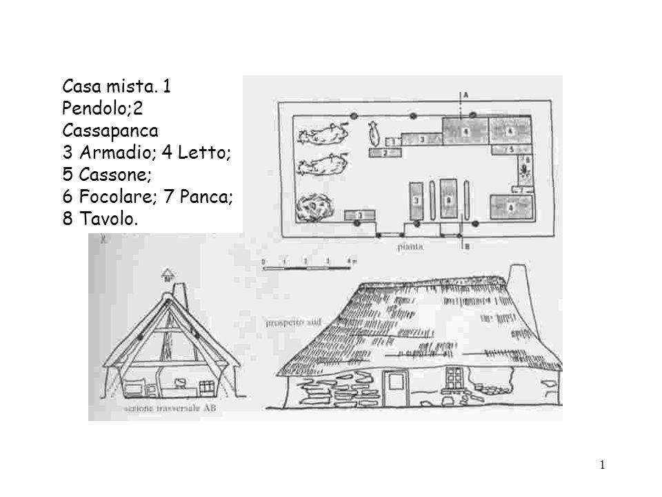 Casa mista. 1 Pendolo;2 Cassapanca