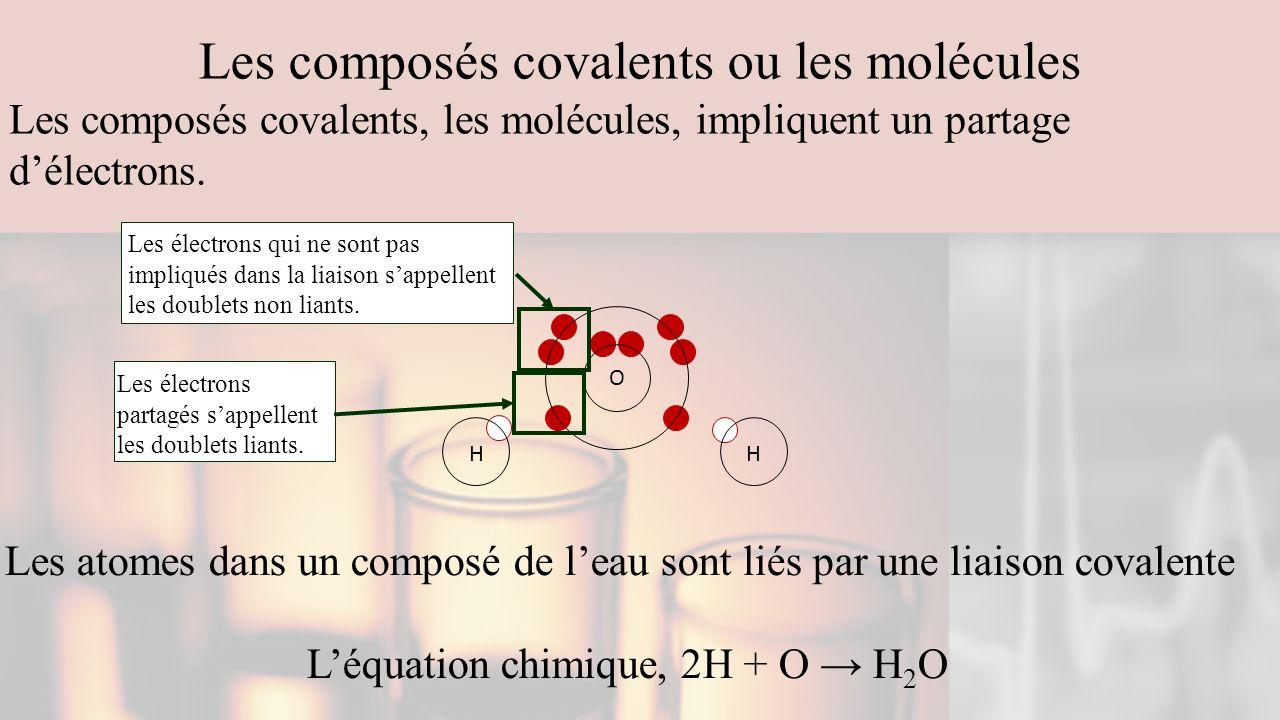 Les composés covalents ou les molécules