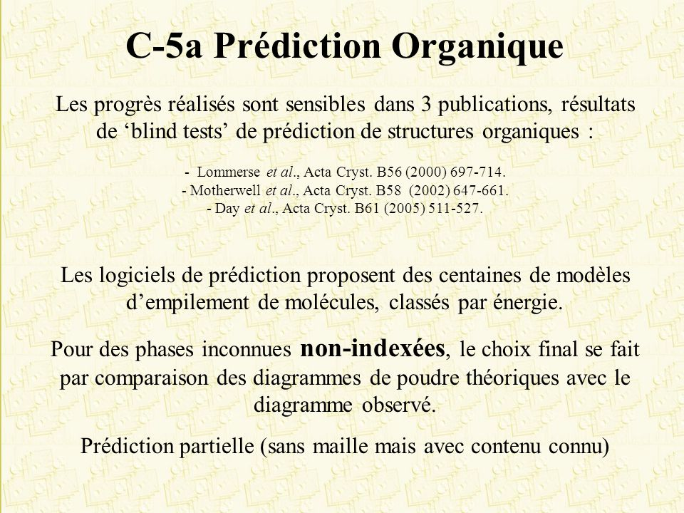 C-5a Prédiction Organique