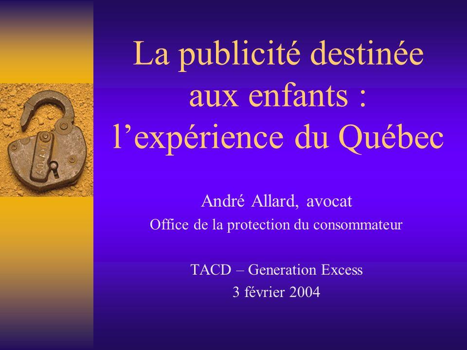 La publicité destinée aux enfants : l'expérience du Québec