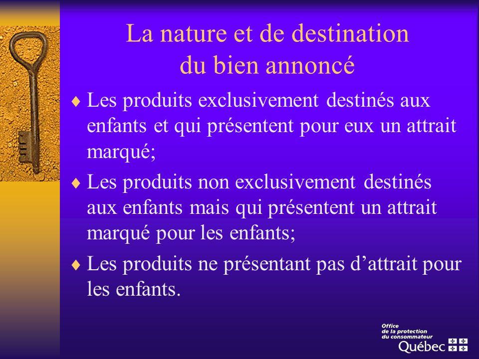 La nature et de destination du bien annoncé