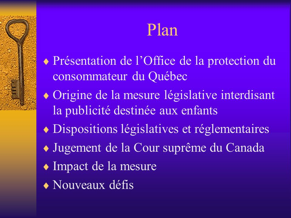 Plan Présentation de l'Office de la protection du consommateur du Québec.