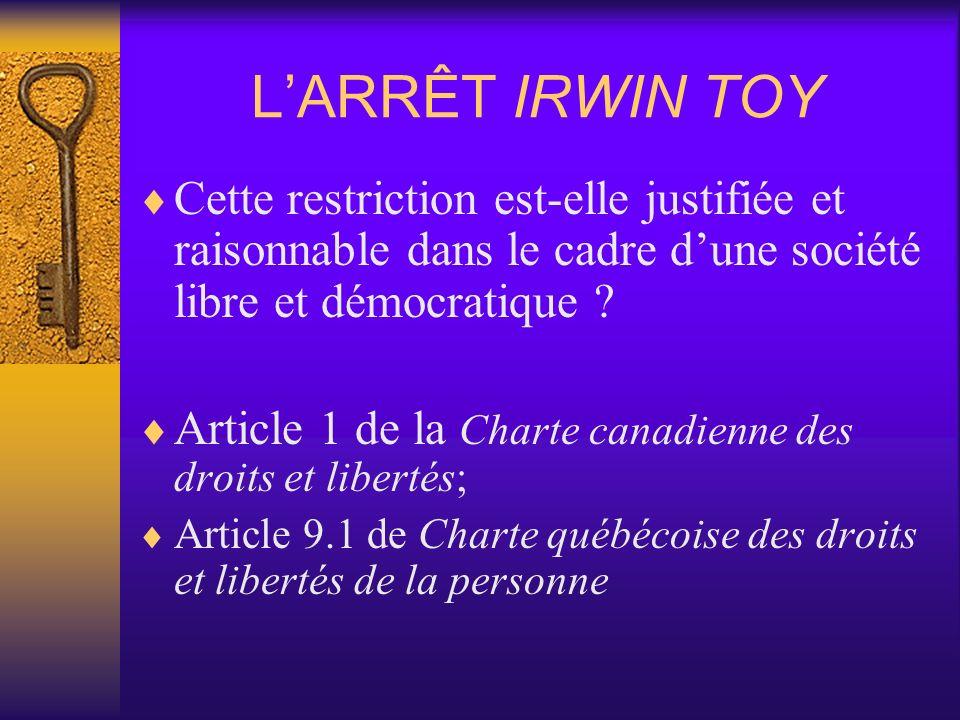L'ARRÊT IRWIN TOY Cette restriction est-elle justifiée et raisonnable dans le cadre d'une société libre et démocratique