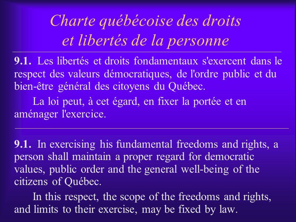Charte québécoise des droits et libertés de la personne