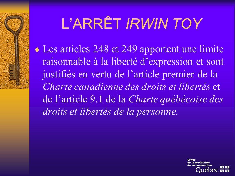 L'ARRÊT IRWIN TOY