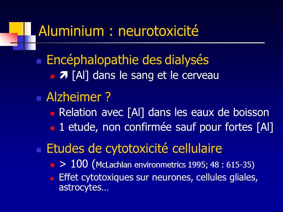 Aluminium : neurotoxicité