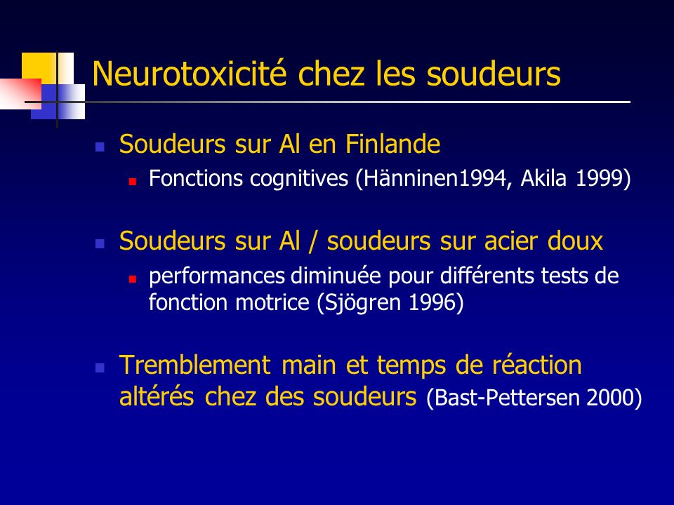 Neurotoxicité chez les soudeurs