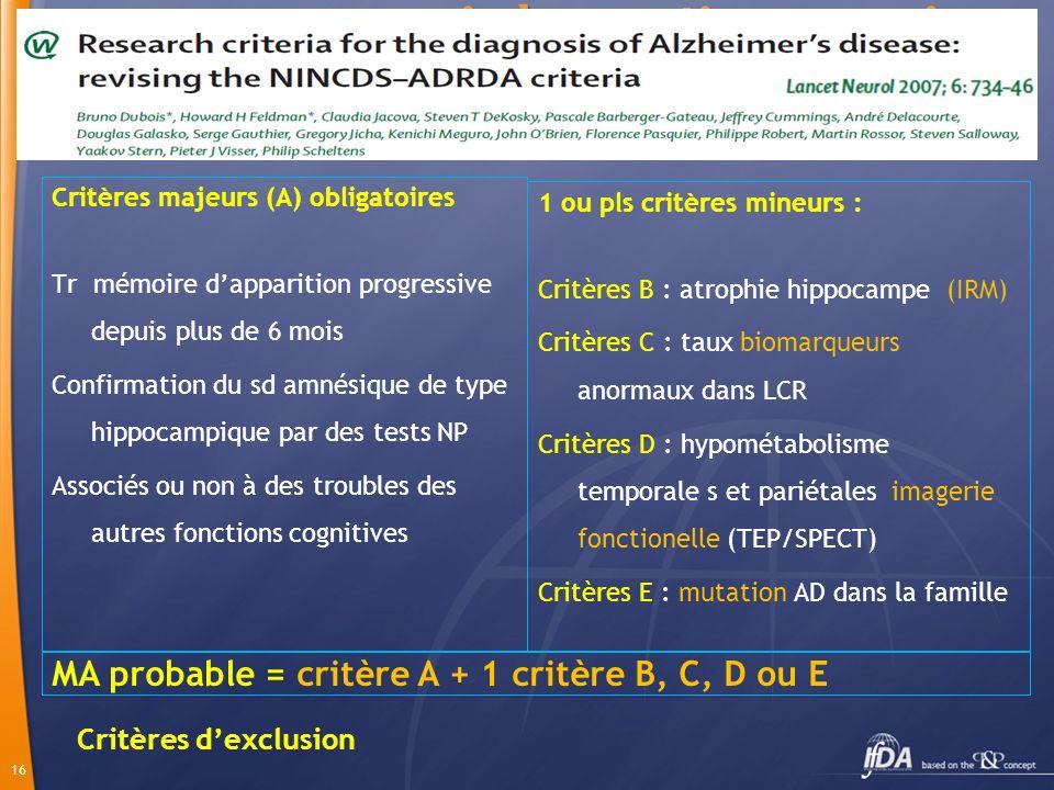 Nouveaux critères diagnostic proposés (2007)