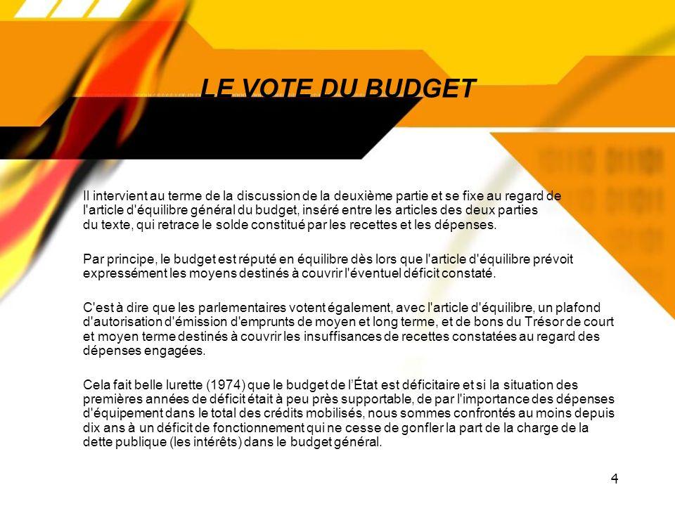 LE VOTE DU BUDGET