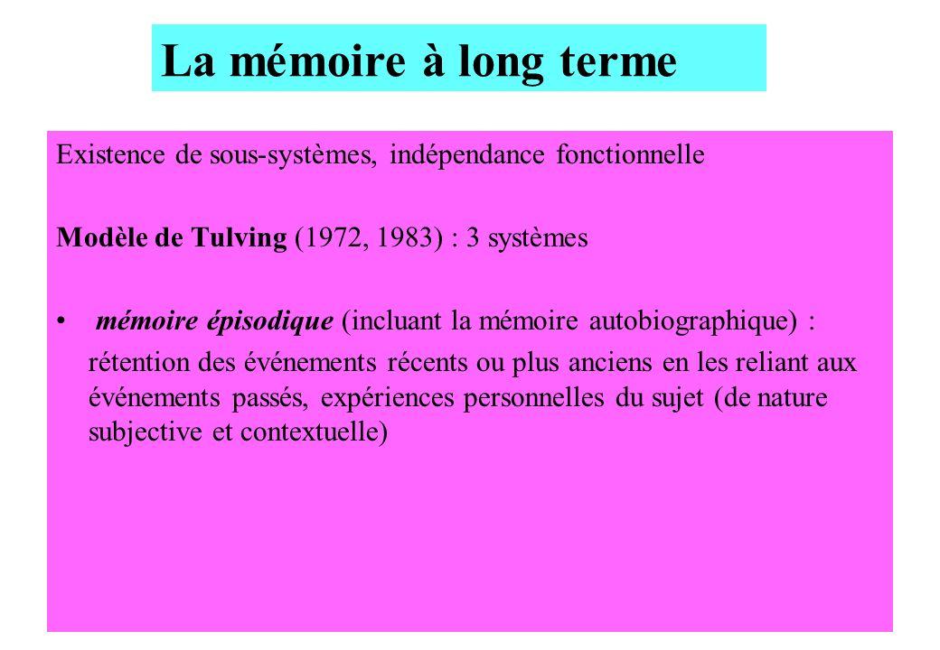 La mémoire à long terme Existence de sous-systèmes, indépendance fonctionnelle. Modèle de Tulving (1972, 1983) : 3 systèmes.