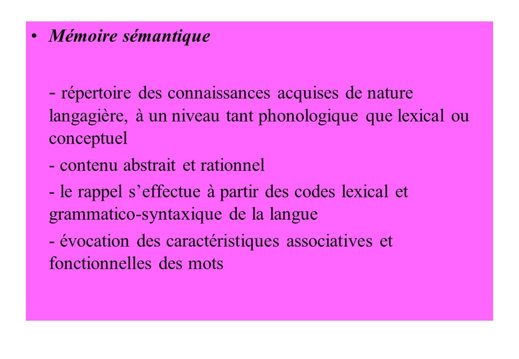 Mémoire sémantique - répertoire des connaissances acquises de nature langagière, à un niveau tant phonologique que lexical ou conceptuel.