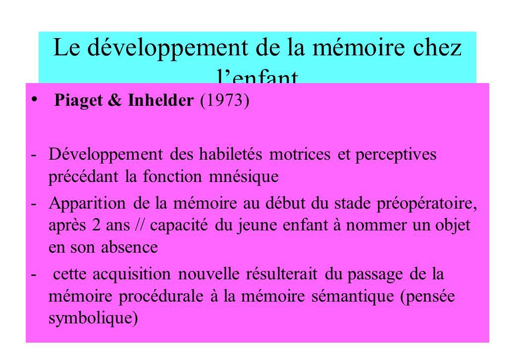 Le développement de la mémoire chez l'enfant