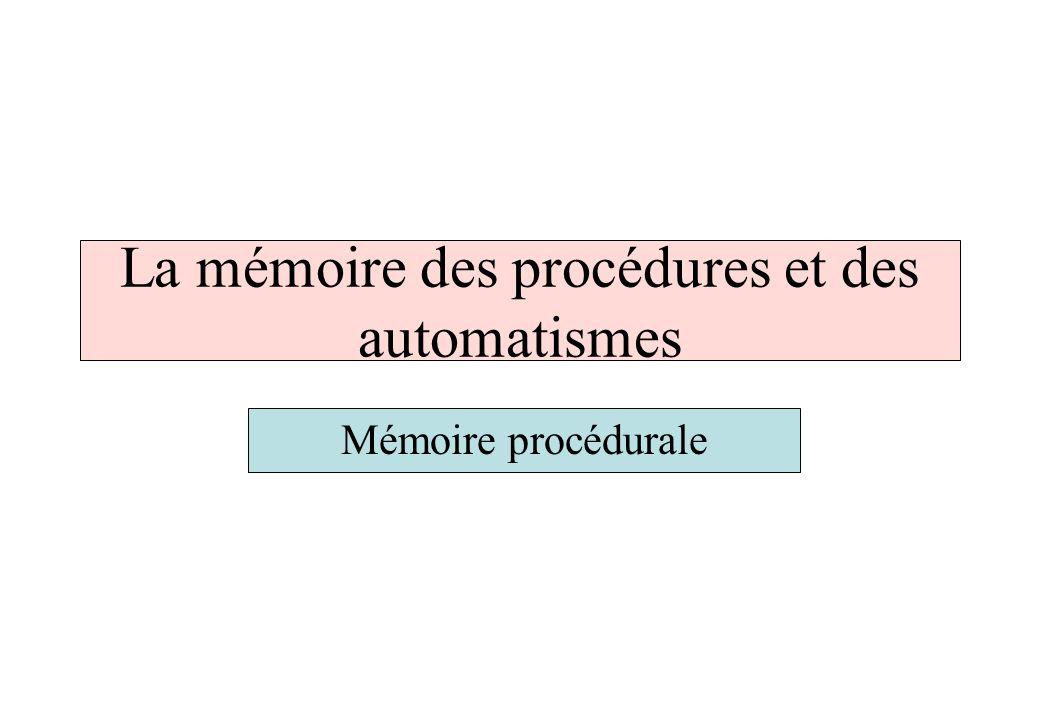 La mémoire des procédures et des automatismes