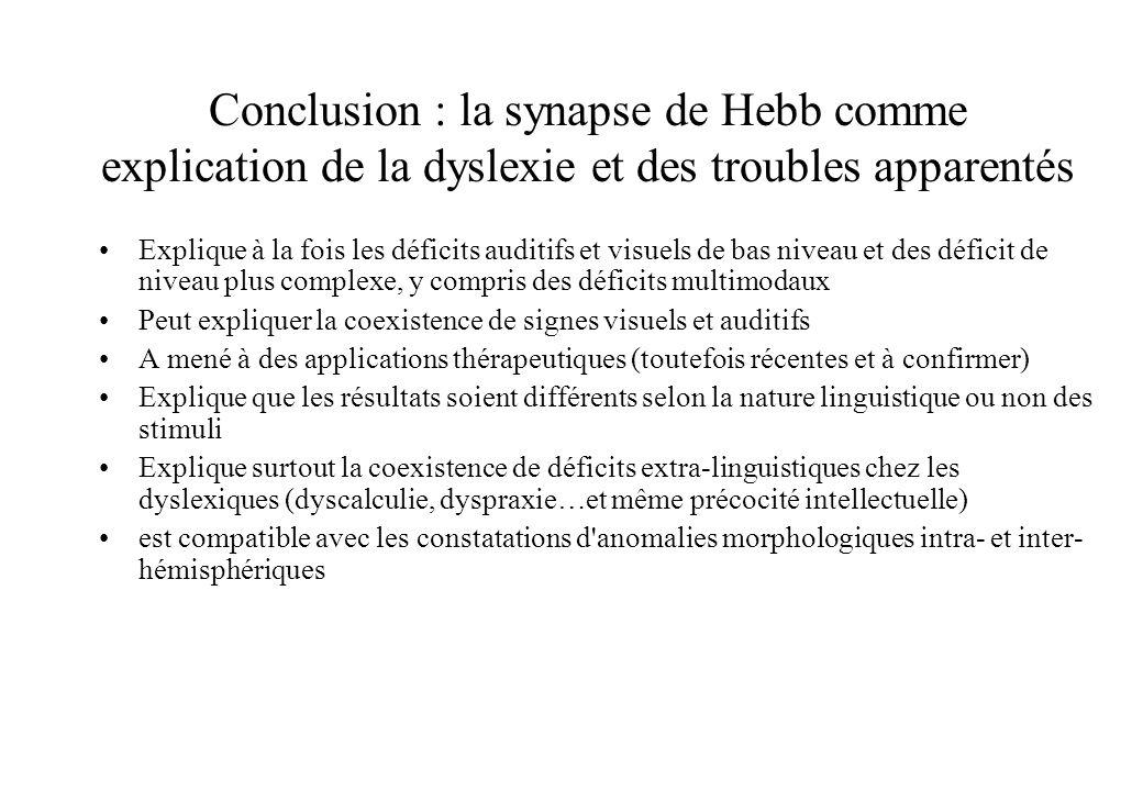 Conclusion : la synapse de Hebb comme explication de la dyslexie et des troubles apparentés