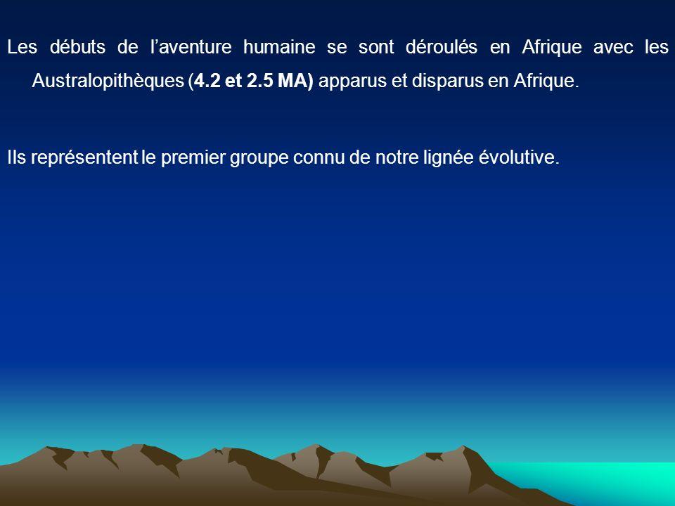 Les débuts de l'aventure humaine se sont déroulés en Afrique avec les Australopithèques (4.2 et 2.5 MA) apparus et disparus en Afrique.