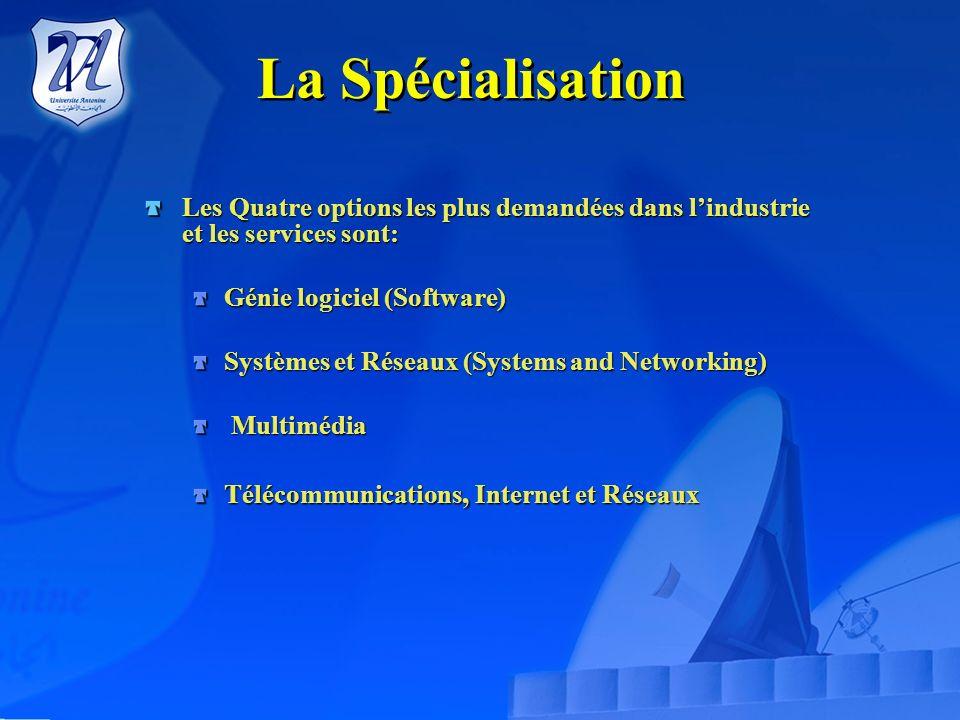 La SpécialisationLes Quatre options les plus demandées dans l'industrie et les services sont: