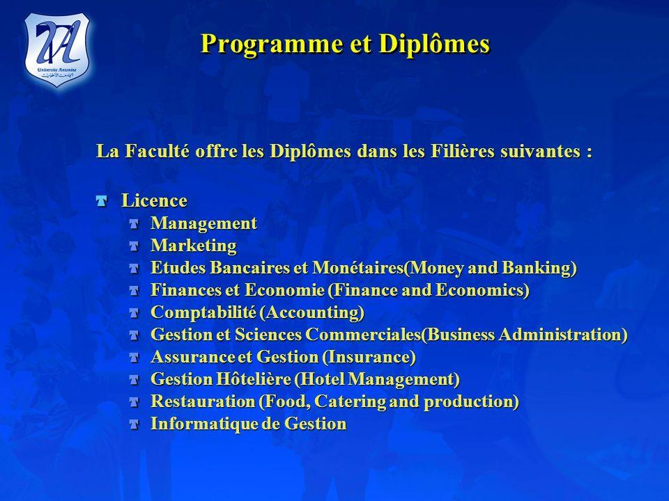Programme et Diplômes La Faculté offre les Diplômes dans les Filières suivantes : Licence. Management.