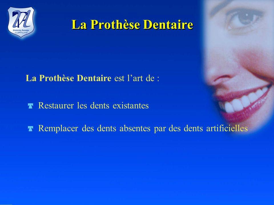 La Prothèse Dentaire La Prothèse Dentaire est l'art de :