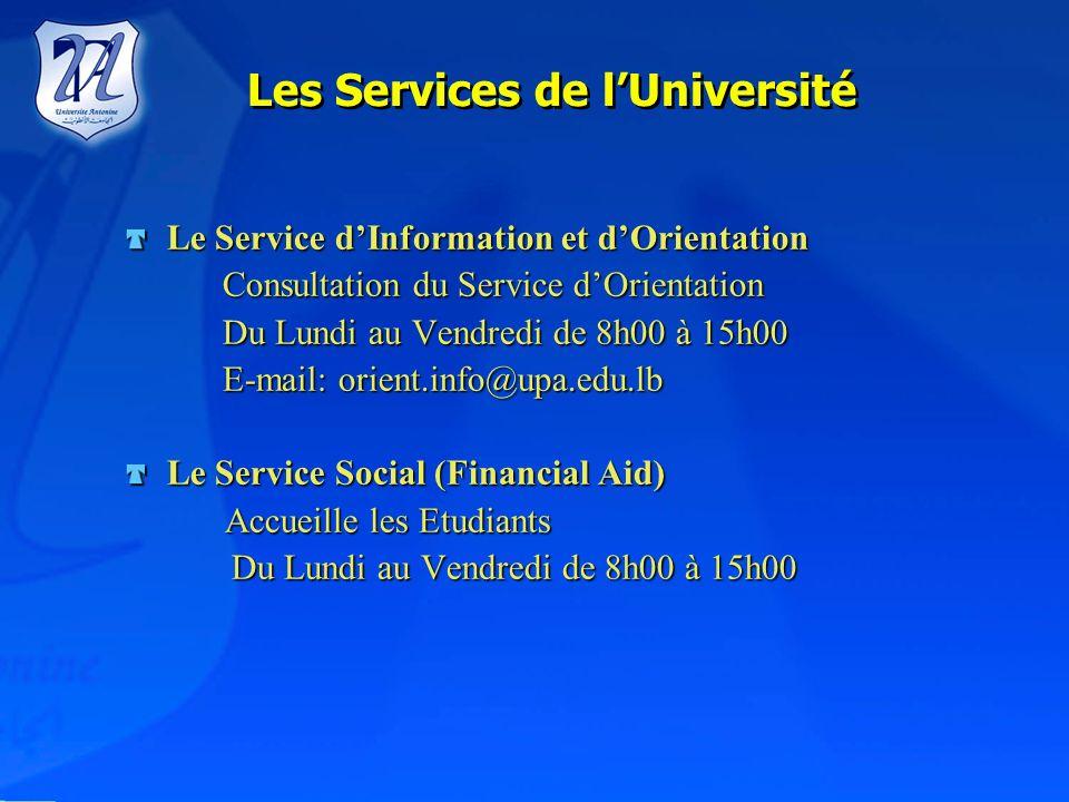 Les Services de l'Université