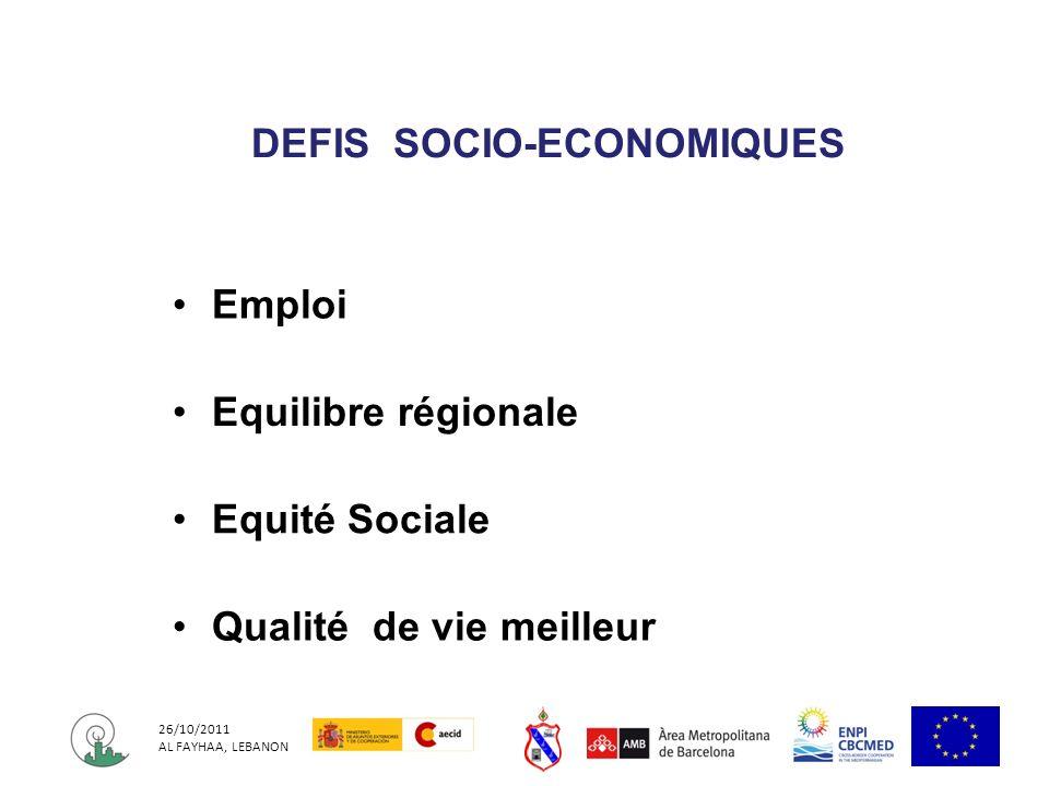 DEFIS SOCIO-ECONOMIQUES