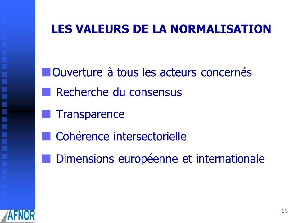 LES VALEURS DE LA NORMALISATION