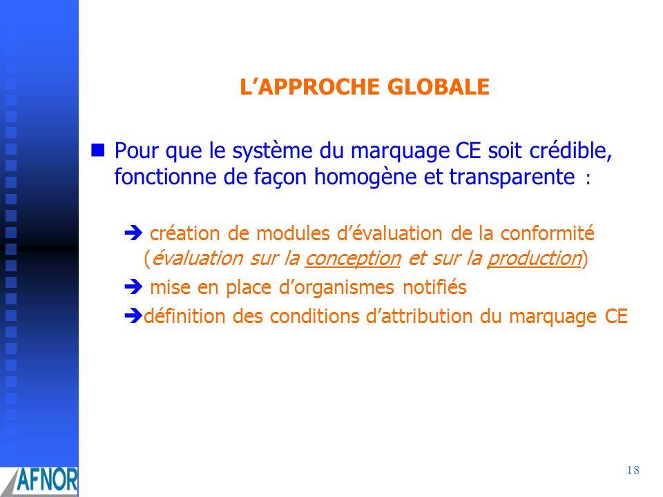 L'APPROCHE GLOBALE Pour que le système du marquage CE soit crédible, fonctionne de façon homogène et transparente :