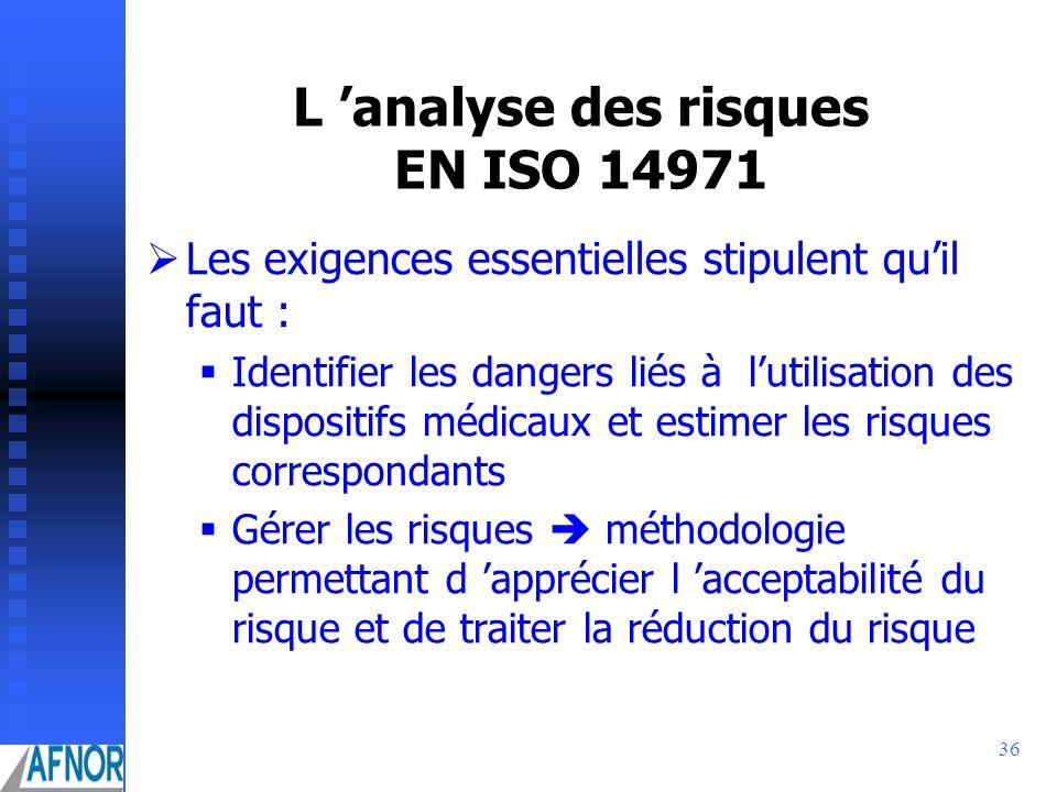 L 'analyse des risques EN ISO 14971