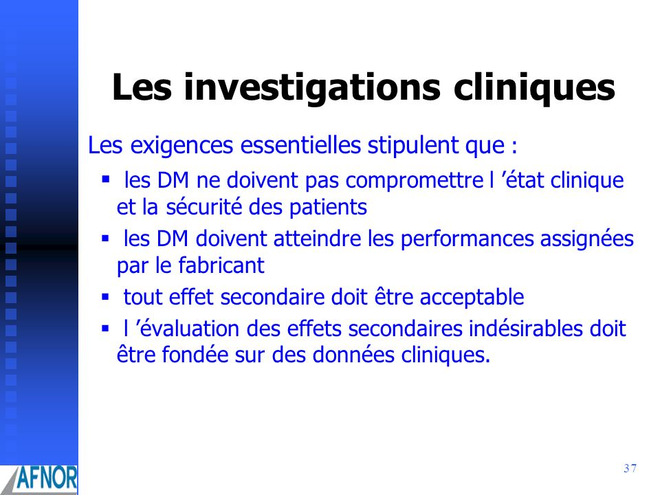 Les investigations cliniques