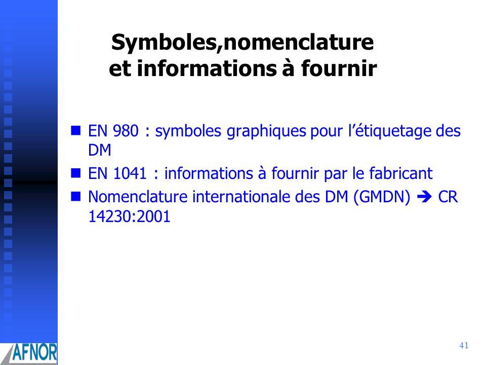 Symboles,nomenclature et informations à fournir