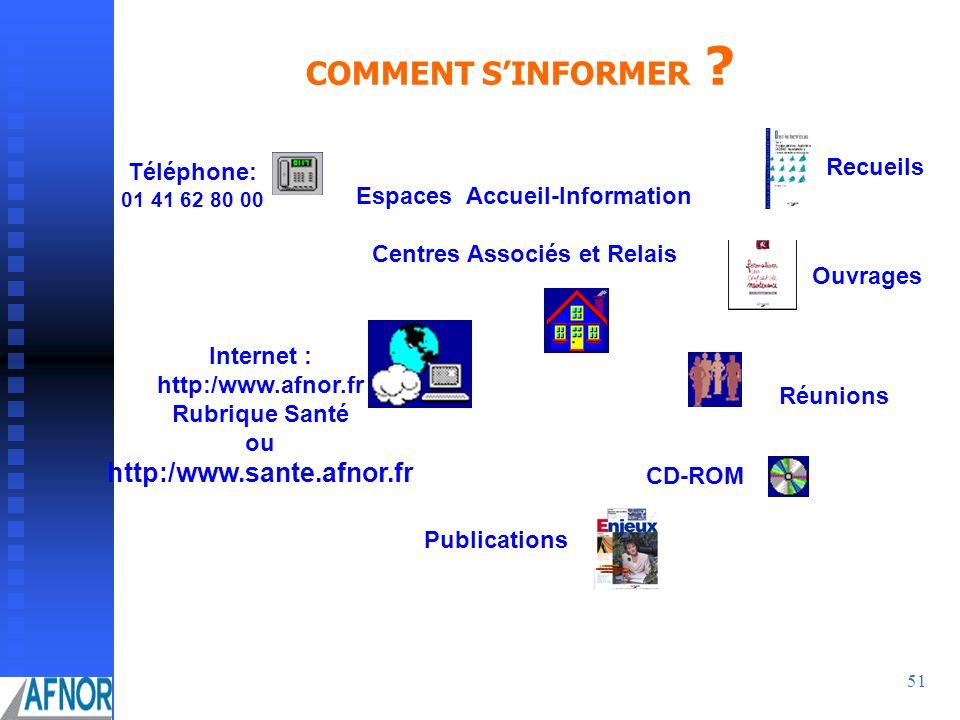 COMMENT S'INFORMER http:/www.sante.afnor.fr Recueils