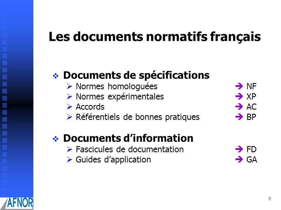 Les documents normatifs français