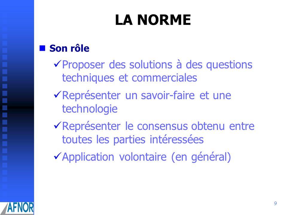 LA NORMESon rôle. Proposer des solutions à des questions techniques et commerciales. Représenter un savoir-faire et une technologie.