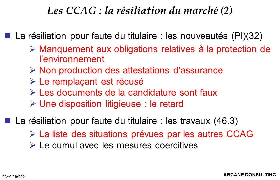 Les CCAG : la résiliation du marché (2)