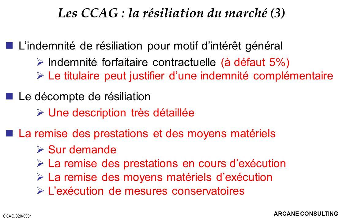Les CCAG : la résiliation du marché (3)