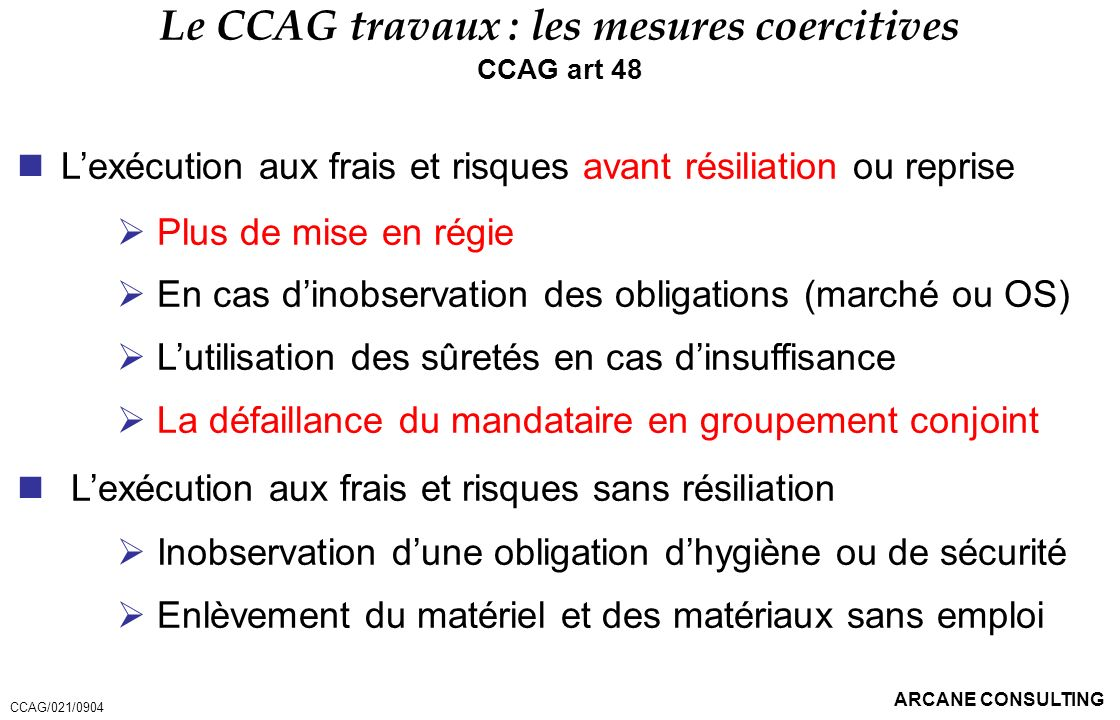 Le CCAG travaux : les mesures coercitives